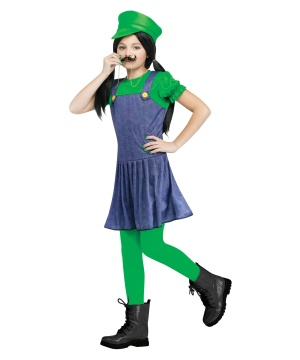 Girls Luigi Plumber Costume