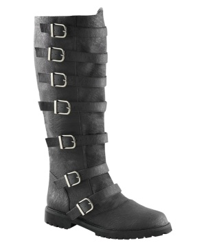 Mens Black Multi-buckled Strap Knee High Boots