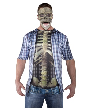 Mens Skeleton Shirt Costume Blue