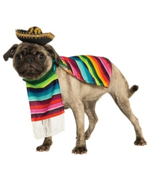 Mexican Poncho Sombrero Pet Costume