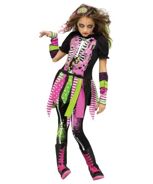 Neon Hipster Zombie Girls Costume