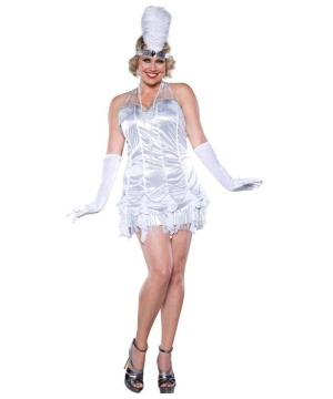 Womens 20s Silver Flapper plus size Costume