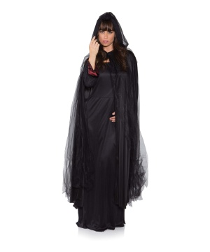 Womens Black Ghost Cape