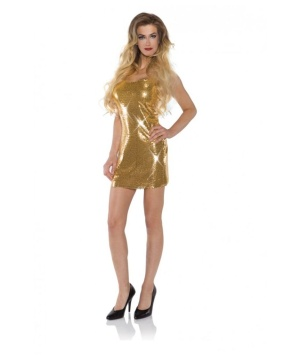 Womens Gold Sequin Short Dress