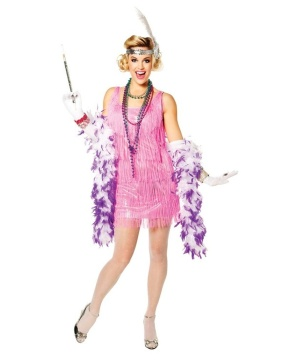 Womens Pink Flapper Costume
