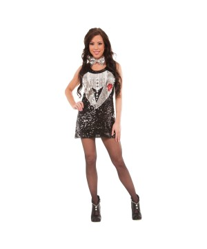 Womens Sequin Tuxedo Dress Costume
