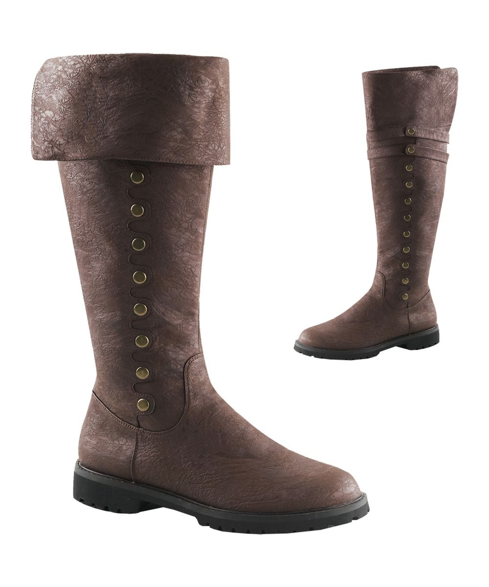 High Brown Cuff Boots