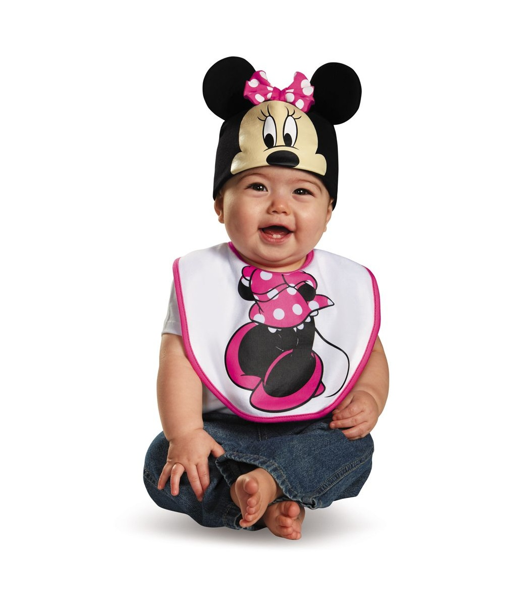 pink minnie mouse bib and hat baby costume. Black Bedroom Furniture Sets. Home Design Ideas