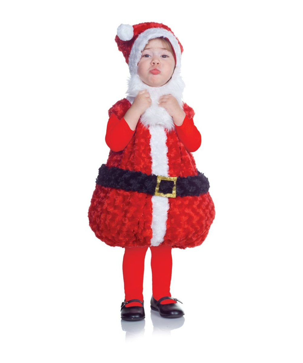 The complete Child Flannel Santa Suit comes with a red jacket with white plush, a matching pair of red pants, a black belt with a slide buckle, a classic Santa hat with white pom-pom on top, white gloves, and a pair of black boot tops/5(8).