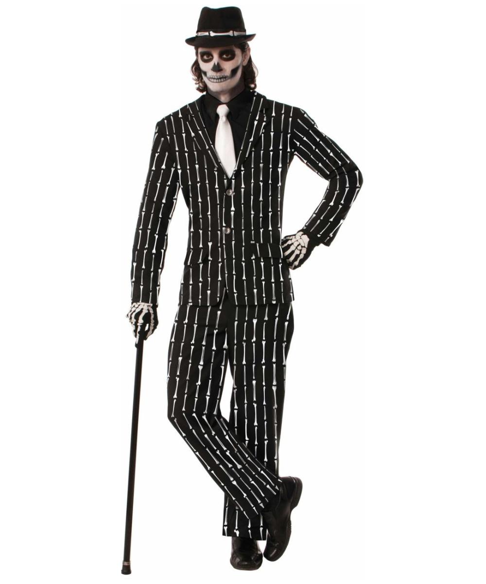 Skeleton Pinstripe Suit Costume - Men Costume