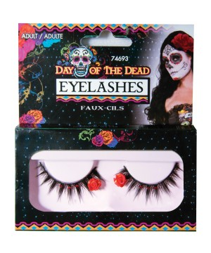 Day of the Dead Eyelashes Red Roses