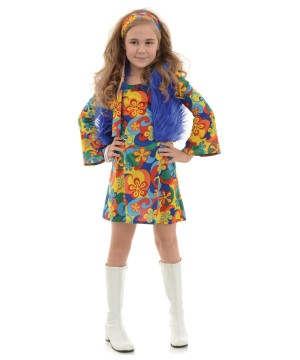 Girls Disco Hippie Costume