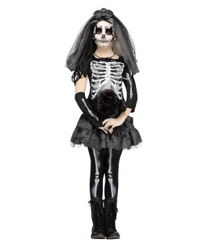 Girls Ghastly Skeleton Bride Costume