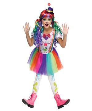 Girls Rainbow Color Clown Costume