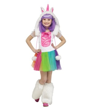 Girls Rainbow Unicorn Pony Costume