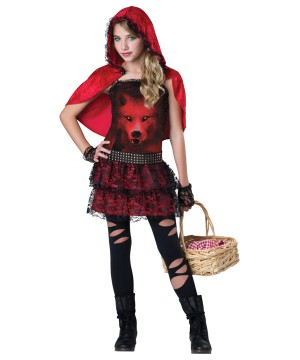 Girls Red Riding Punk Costume
