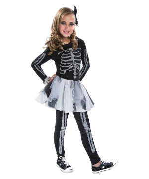 Girls Silver Skeleton Tutu Costume