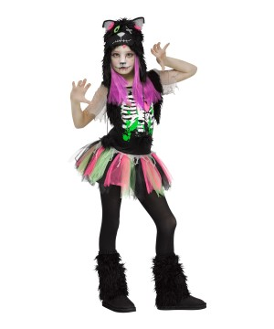 Girls Zombie Kitty Cat Costume