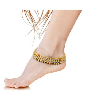 Green White Kundan Brass Anklet