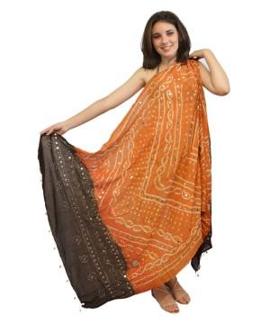 Jaipuri Dupatta in Beige Brown Cotton