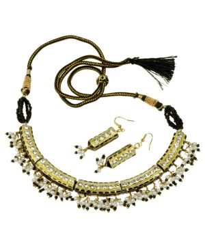 Jaipuri Lacquer Black Jewelry Set