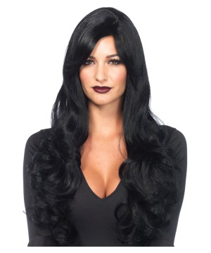Long Wavy Black Colored Wig