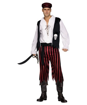 Mens Black Buccaneer Pirate Costume