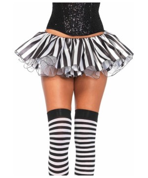 Womens Black White Striped Tutu