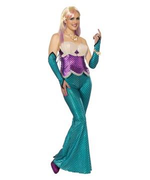 Womens Blue Mermaid Glovelets