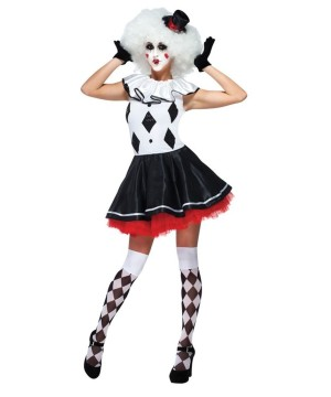Womens Harlequin Pantomime Clown Costume