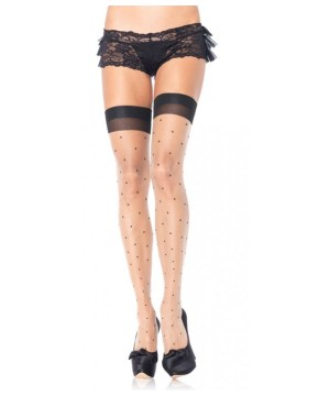 Womens Sheer Black Polka Dot Stockings