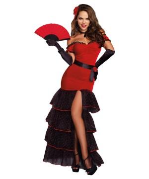 Womens Spanish Flamenco Dancer Costume