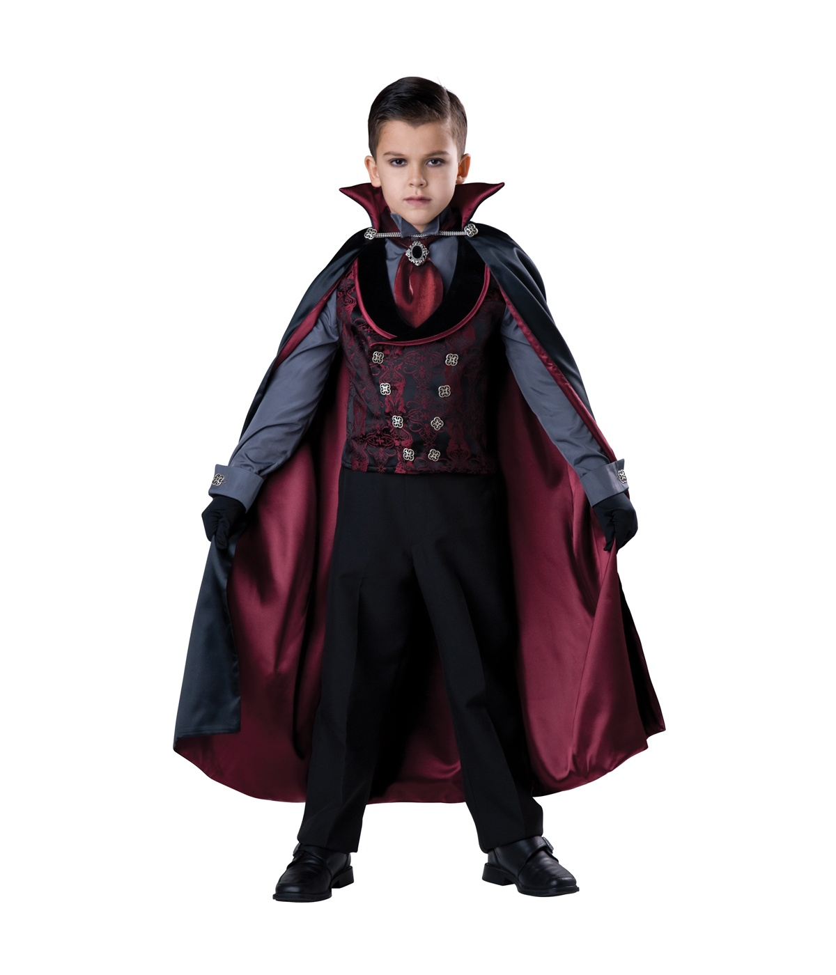 Product Features Costume features black jacket with attached shirt front and blood-red vest.