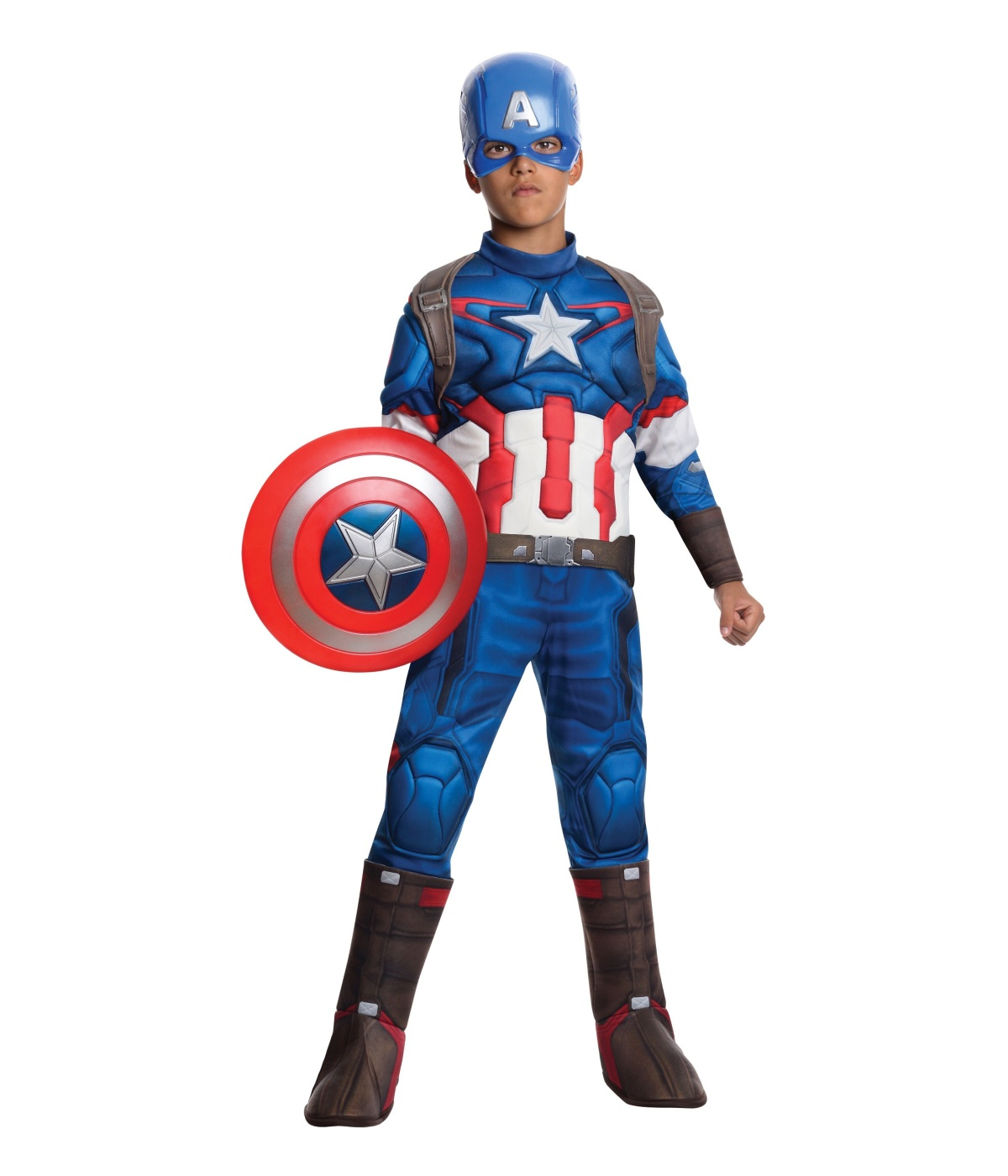 Captain America Costumes Assemble the Avengers and suit up and style when you shop Spirit Halloween for your next Captain America costume! Don his signature red, white, and blue suit and get ready to save the world from any villain that comes your way—and don't forget your shield!