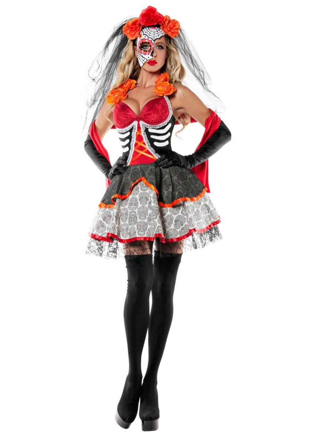 Day of the Dead Beauty Womens Costume - Genie Costumes