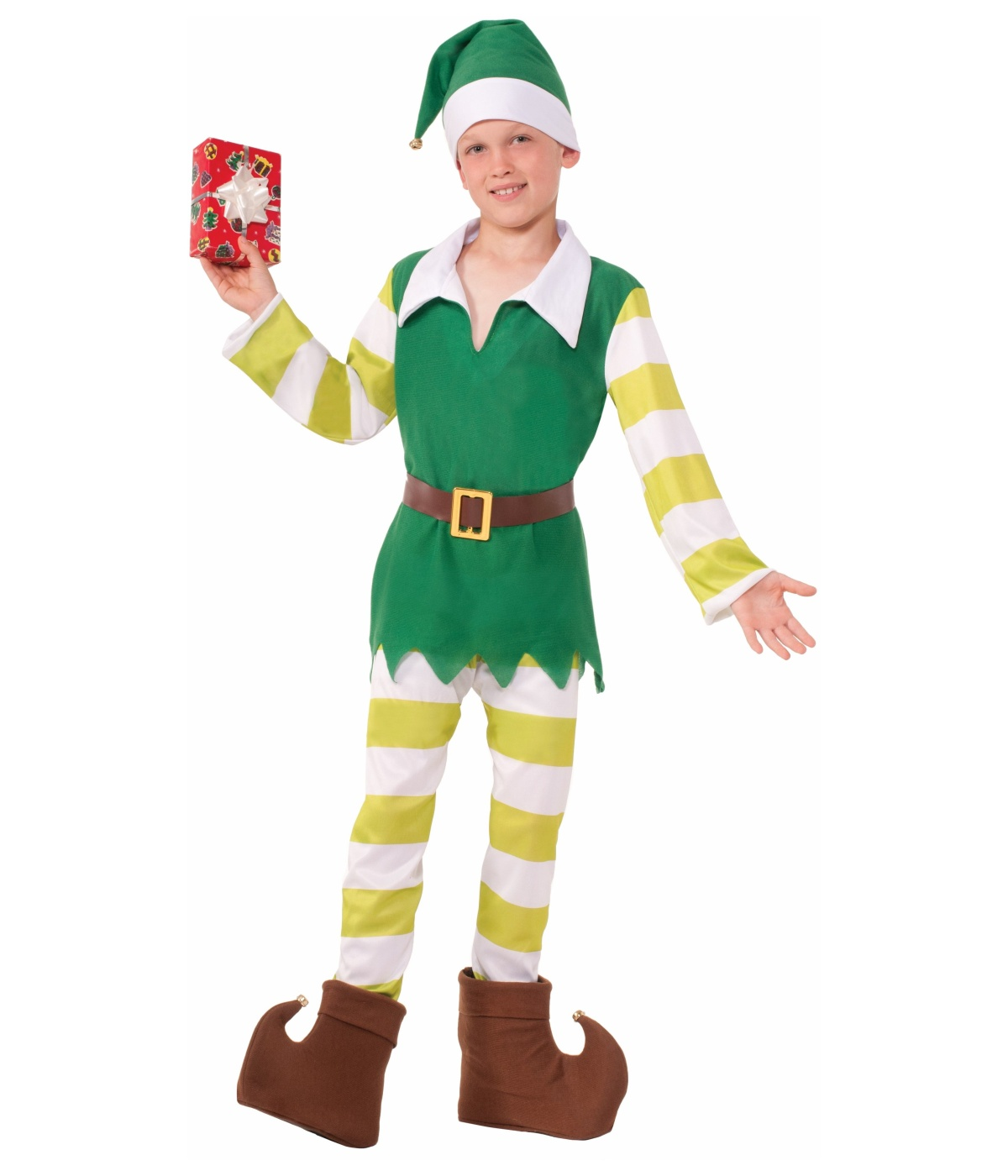 Join Santa's workshop workforce in this jolly Elf Costume! Our Elf Costume for children features a red and green split-tone polyester tunic with gold trim and jester collar with tiny jingle bell tips, matching pants and fabric elf shoes with pom-pom accents, and a red elf hat with green flaps with jingle bell tips.