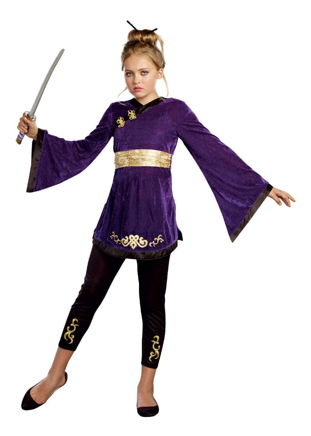 Girls Japanese Lotus Warrior Costume