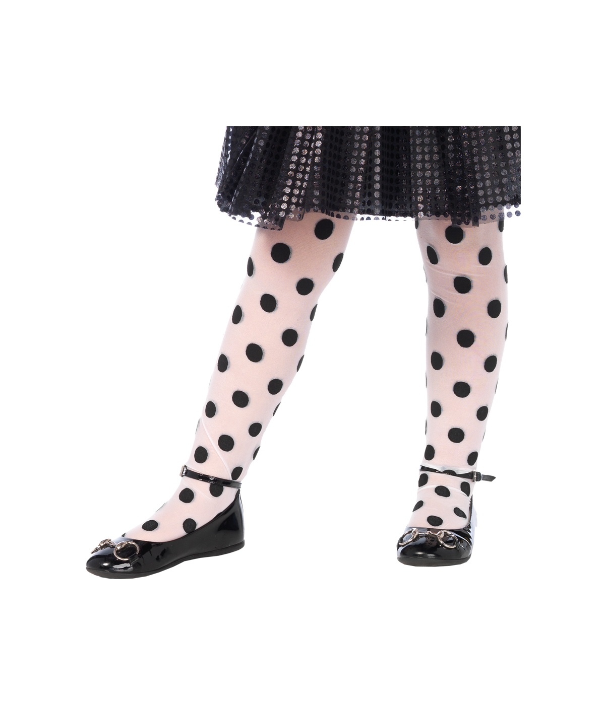 Black And White Polka Dot Girls Tights Costume Accessories