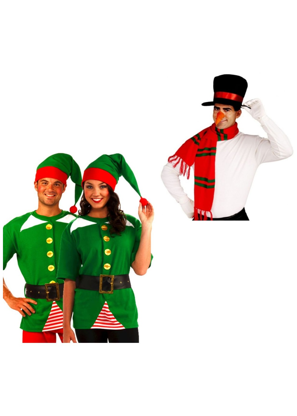 Adult costumes women costumes snowman and jolly elf costume