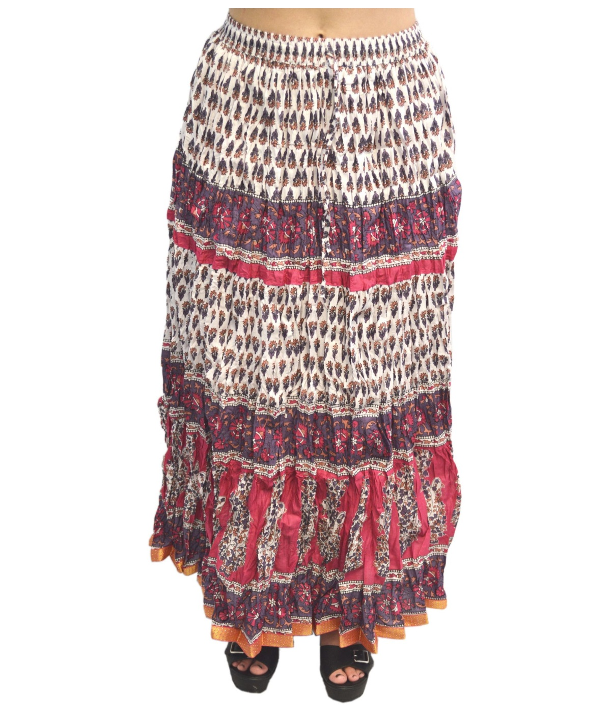 It is a beautiful Cotton Full Length Skirt With Indigo Print. It Has Draw String Band Which Can Fit Upto Waist Size Inches. The Length of the skirt is 40 Inches.