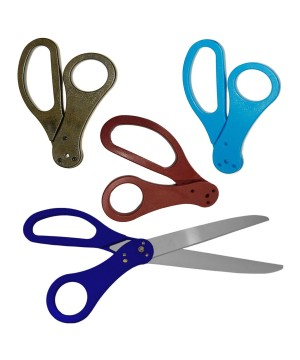 25 inch Blue Ribbon Cutting Scissors With Red, Black and Light Blue Handles