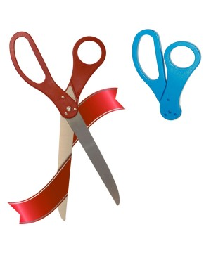 25 inch Red Ribbon Cutting Scissors With Changeable Blue Handles