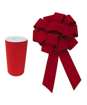 7.5 X 25 Feet Red Ribbon Roll With 24 or 43 inch Red Bow