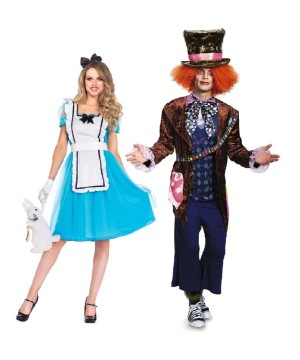 Alice and Mad Hatter Adventures Couples Costume Set