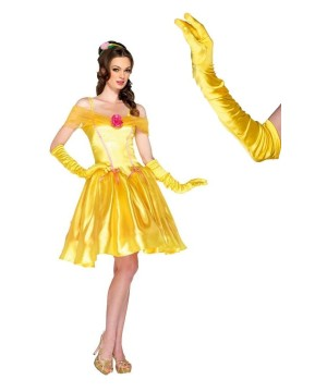 Belle Princess Women Costume and Gloves Set