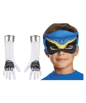 Blue Power Ranger Dino Charge Boys Mask and Gloves Set