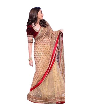 Golden Red Net Bollywood Design Saree