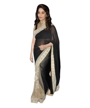 Bollywood Design Black and Gold Net Crepe Saree