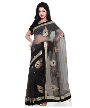 Bollywood Design Fancy Black and Grey Net Saree