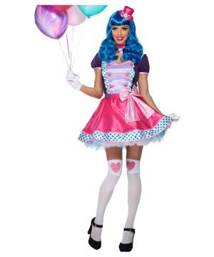 Bubble Gum Clown and Blue Wig Women Set